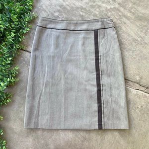 Les Copains Italy • Gray Brown Wool Leather Skirt